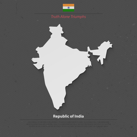 south asia: Republic of India isolated map and official flag icons. vector Indian political map 3d illustration. South Asia country geographic banner design. travel and business concept map