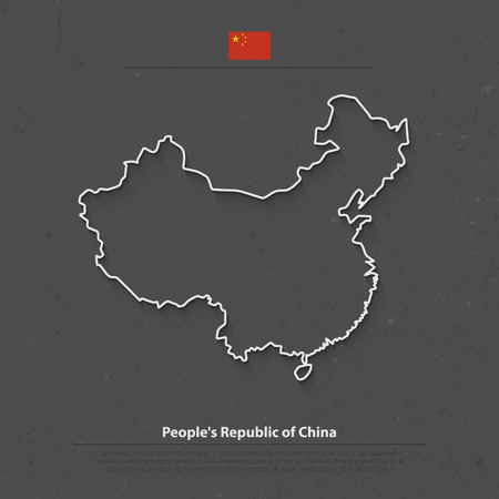 people's republic of china: Peoples Republic of China isolated map and official flag icons. vector Chinese political map thin line illustration. Asian country geographic banner design. travel and business concept map
