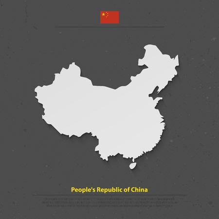 mapa de china: La Rep�blica Popular de China aisl� el mapa y la bandera iconos oficiales. Vector mapa pol�tico chino ilustraci�n 3d. Dise�o de la bandera geogr�fica pa�s asi�tico. mapas de viajes y negocios concepto Vectores