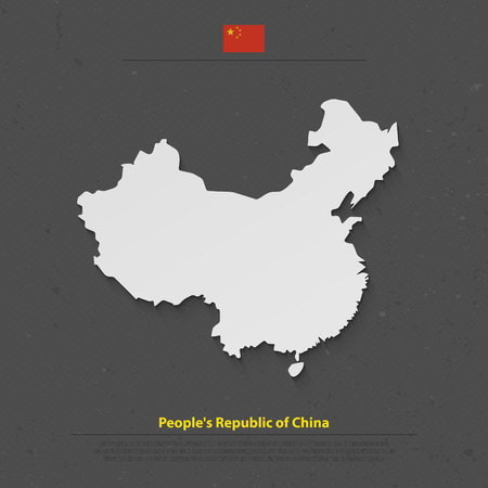 people's republic of china: Peoples Republic of China isolated map and official flag icons. vector Chinese political map 3d illustration. Asian country geographic banner design. travel and business concept maps
