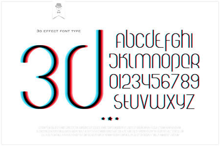 typesetting: round 3d effect alphabet letters and numbers on white background. vector font type design. distortion lettering icons. stylized glitch text typesetting. distorted vision typography template