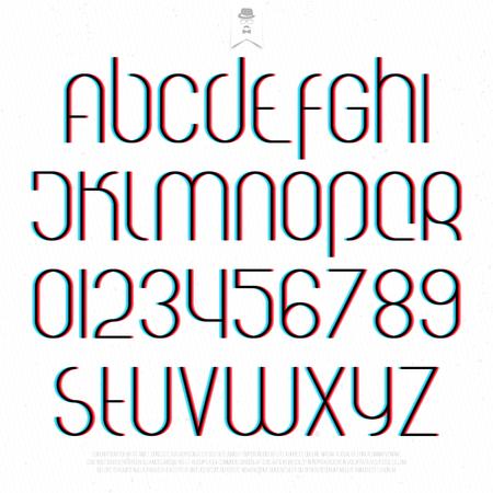흰색 배경에 라운드 3D 효과 알파벳 문자와 숫자. 벡터 폰트 타입의 디자인. 왜곡 문자 아이콘. 양식에 일치시키는 글리치 텍스트 조판. 입체 환상의 활