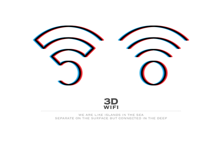 stereoscope: two 3d illusion wireless icons and wifi  . vector radio wave stereoscopic symbol. free internet connection zone sign. anaglyph technology concept  .