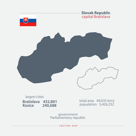 general maps: Slovak Republic isolated maps and official flag icon. vector Slovak political map icons with general information. European country geographic banner template. travel and business concept