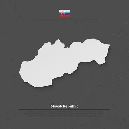 central europe: Slovak Republic isolated map and official flag icons. vector Slovak political map 3d illustration. Central Europe geographic banner template. travel and business concept maps