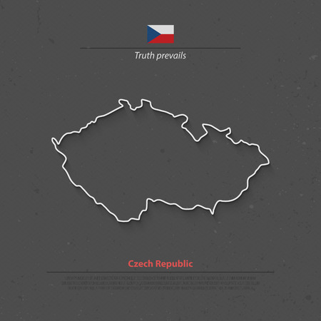 Czech Republic isolated map and official flag icons. vector Czech political thin line style map. European country geographic banner template. travel and business concept maps