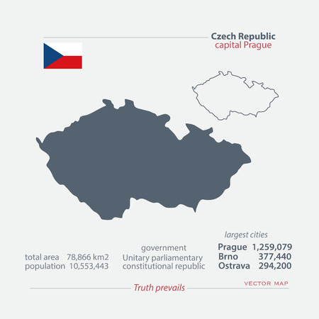 ceska: Czech Republic isolated maps and official flag icon. vector Czech political map icons with general information. Central Europe geographic banner template. travel and business concept map