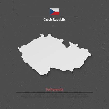 central europe: Czech Republic isolated map and official flag icons. vector Czech political map 3d illustration. Central Europe geographic banner template. travel and business concept maps Illustration