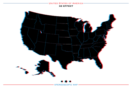 us territory: stereoscopic effect United States of America isolated map. vector USA territory political map. geographic banner template. three-dimensional illusion US maps. Illustration