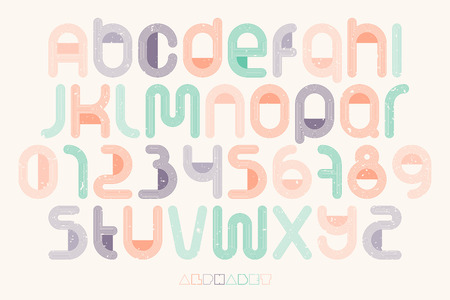 numerical code: set of thin line style alphabet letters and numbers over paper texture. vector font type design. vintage, bold lettering icons. stylized   text typesetting. colorful typography template