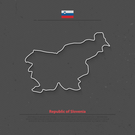 Republic of Slovenia isolated map and official flag icons. vector Slovene political thin line map over grunge background. European country geographic banner template