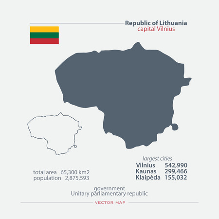 Republic Of Lithuania Isolated Map And Official Flag Icons Vector