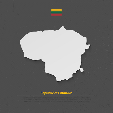 geographic: Republic of Lithuania isolated map and official flag icons. vector Lithuanian political map 3d illustration over grunge background. Northern Europe State geographic banner template