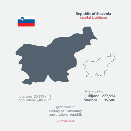 Republic of Slovenia isolated maps and official flag icon. vector Slovene political map icons with general information. European country geographic banner template