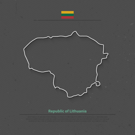 geographic: Republic of Lithuania isolated map and official flag icons. vector Lithuanian political map thin line icon over grunge background. Northern Europe State geographic banner template Illustration