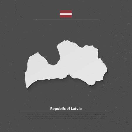 baltic: Republic of Latvia isolated map and official flag icons. vector Latvian political map 3d illustration over grunge background. Baltic State geographic banner template Illustration