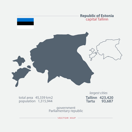 geographic: Republic of Estonia isolated maps and official flag icon. vector Estonian political map icons and general information. Northern Europe State geographic banner design