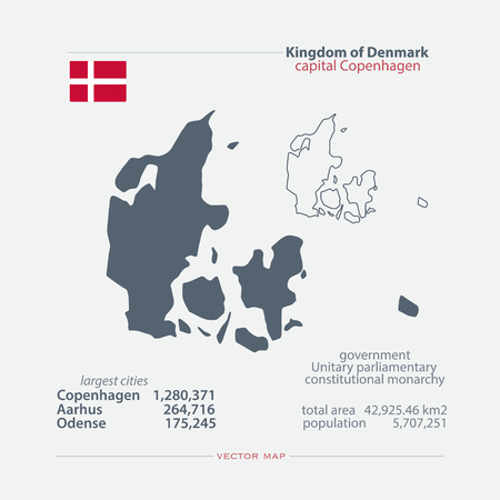 danish: Kingdom of Denmark isolated maps and official flag icon. vector Danish political map icons with general information. EU geographic banner template. travel and business concept map