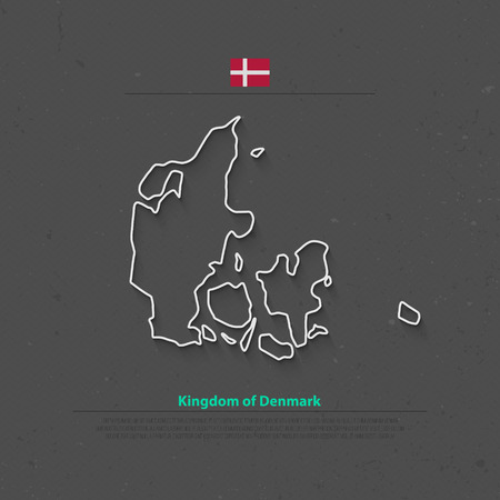 nordic country: Kingdom of Denmark isolated map and official flag icons. vector Danish political map thin line icon. Nordic Country geographic banner template. travel and business concept map
