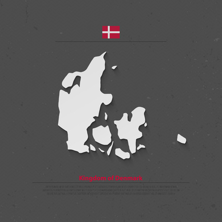 nordic country: Kingdom of Denmark isolated map and official flag icons. vector Danish political map 3d illustration. Nordic Country geographic banner template. travel and business concept map