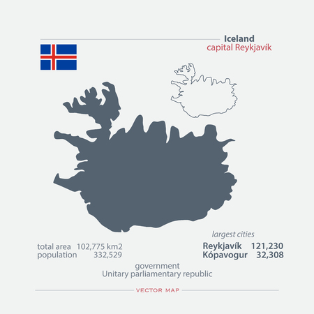 nordic country: Republic of Iceland isolated maps and official flag icon. vector Icelander political map icons with general information. Nordic Country geographic banner template. travel concept map