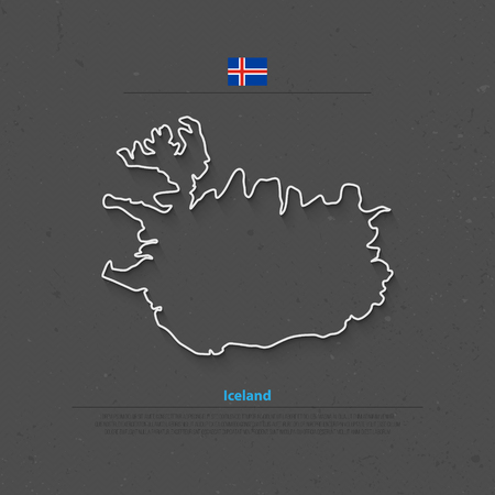 nordic country: Republic of Iceland isolated map and official flag icons. vector Iceland political map thin line icon. Nordic Island Country geographic banner template. travel concept map over paper texture