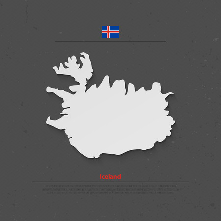 tundra: Republic of Iceland isolated map and official flag icons. vector Iceland 3d illustration badge. Nordic Island Country geographic banner template. travel concept map over paper texture