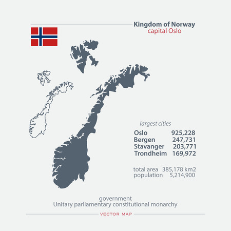 nordic country: Kingdom of Norway isolated maps and official flag icon. vector Norwegian political map icons with general information. Nordic Country geographic banner template. travel and business concept map