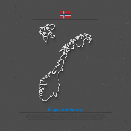 norwegian flag: Kingdom of Norway isolated map and official flag icons. vector Norwegian political map thin line icon. Scandinavian Country geographic banner template. travel and business concept maps