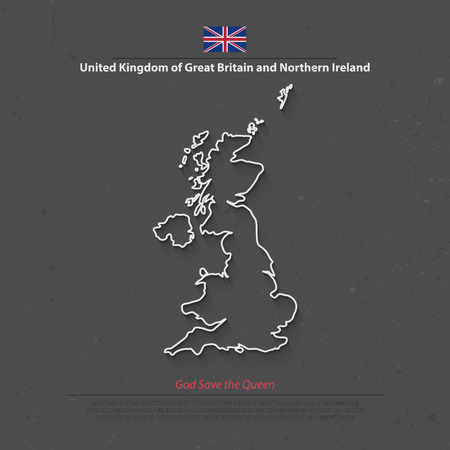 ireland map: United Kingdom of Great Britain and Northern Ireland map and official flag icons. vector British political map thin line icon. EU geographic banner template. business concept maps