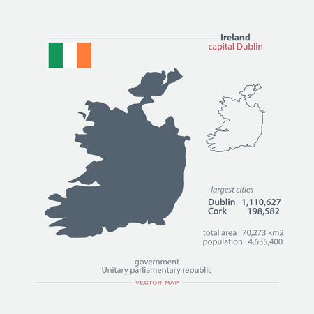 irish banner: Republic of Ireland isolated maps and official flag icon. vector Irish political map icons with general information. EU geographic banner template. travel and business concept map