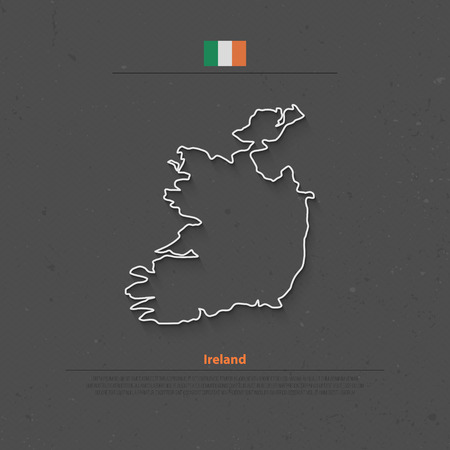 irish banner: Republic of Ireland isolated map and official flag icons. vector Irish political map thin line icon over grunge background. EU geographic banner template. travel and business concept map Illustration