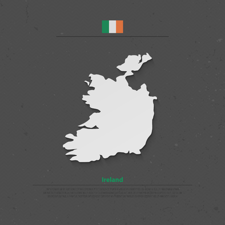 irish banner: Republic of Ireland isolated map and official flag icons. vector Irish political map 3d illustration over paper texture. EU geographic banner template. travel and business concept map Illustration