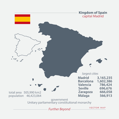 majorca: Kingdom of Spain isolated maps and official flag icon. vector Spanish political map icons with general information. EU geographic banner template. travel and business concept map