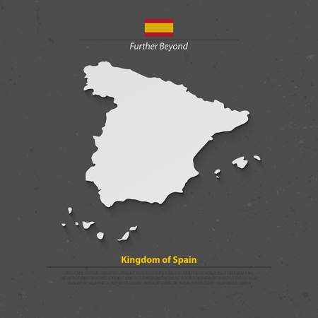kingdom of spain: Kingdom of Spain isolated map and official flag icons. vector Spanish political map 3d illustration over paper texture. EU geographic banner template. travel and business concept maps
