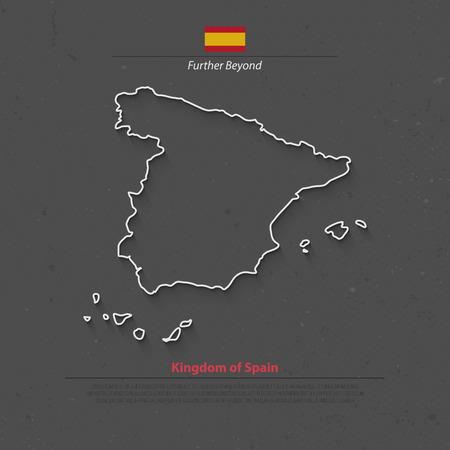 iberian: Kingdom of Spain isolated map and official flag icons. vector Spanish political map thin line icon over grunge background. EU geographic banner template. travel and business concept maps Illustration