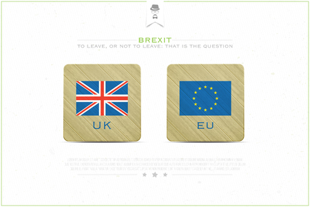referendum: United Kingdom withdrawal from the European Union banner template. vector EU and British flags icons over paper texture. public referendum and political crisis concept illustration