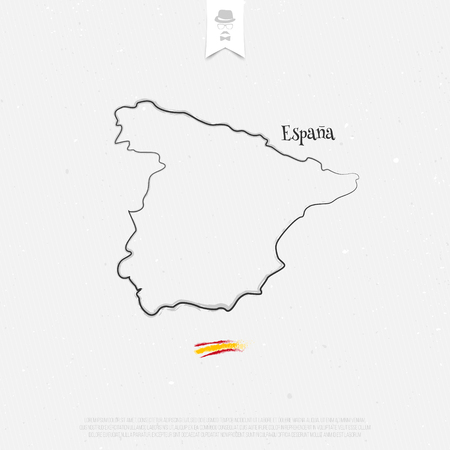 kingdom of spain: Kingdom of Spain outline map and official colors over paper texture. vector Spanish political map thin line icon on white background. EU geographic banner template. travel and business concept