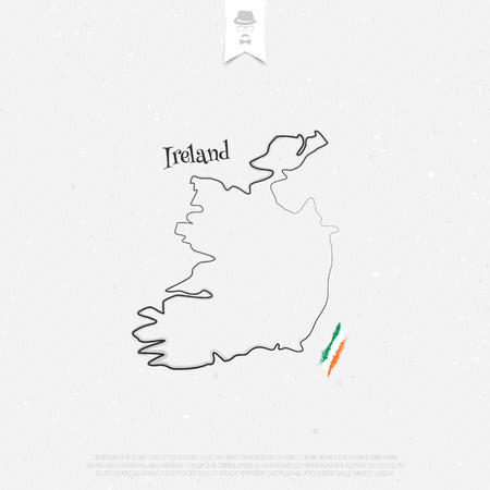 irish banner: Republic of Ireland outline map and official colors over paper texture. vector Irish map thin line icon on white background. EU geographic banner template. travel and business concept