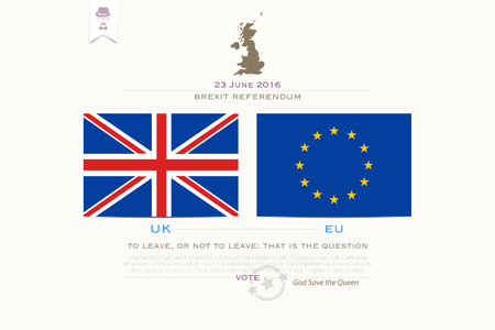 withdrawal: United Kingdom withdrawal from the European Union banner template. vector EU and British flags icons over white background. public referendum announcement, political crisis concept. vector UK map