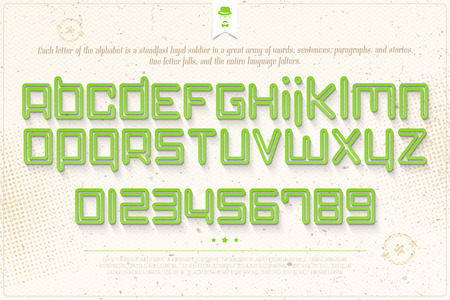 typesetting: set of green outline alphabet letters and numbers over grunge paper texture. vector font type design. modern, bold lettering icons. futuristic   text typesetting. empty circuit typeface template