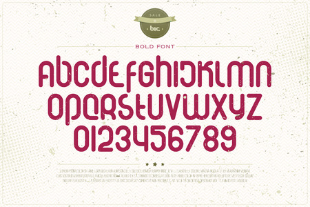 typesetting: set of rounded style alphabet letters and numbers over grunge paper texture. vector font type design. modern, bold lettering icons. vintage   text typesetting. retro typeface template