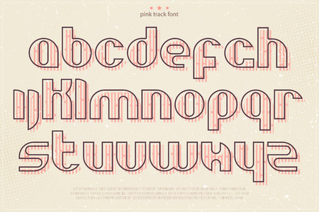 typesetting: set of pink stamp style alphabet letters over grunge paper texture. vector font type design. modern, bold lettering icons. vintage poster text typesetting. alphabetical track typeface template Illustration