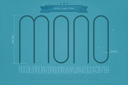 typesetting: set of fine contour alphabet letters and numbers over blue paper texture. vector light font type design. thin line lettering icons. contemporary, subtle, high text typesetting. slim typeface template