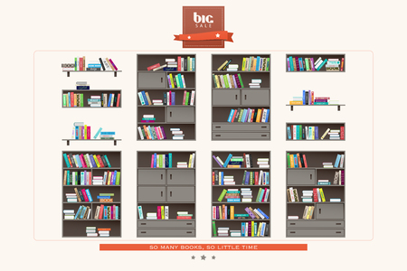 wooden furniture: set of modern interior shelf and books icons on white background. vector wooden furniture and colorful books collection. education and learning concept. flat style library design elements