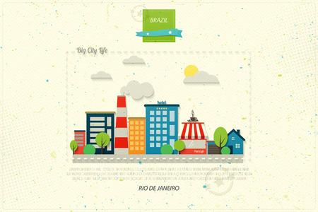 modern architecture: Rio de Janeiro postcard with South America modern architecture
