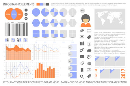 infographic elements, web technology icons. vector time line diagram, arrow symbol. pie chart info graphic icon. financial statistic and marketing report presentation banner template Illustration