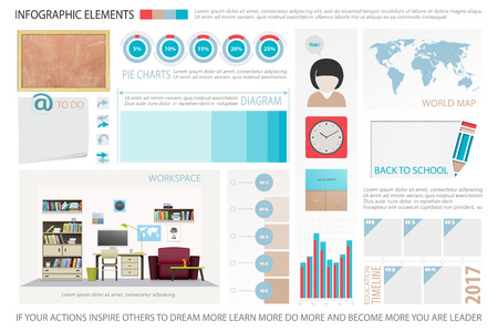 work place: infographic elements, classroom objects icons. vector time line diagram, work place interior, office tools. education statistic and learning report. school presentation banner template Illustration