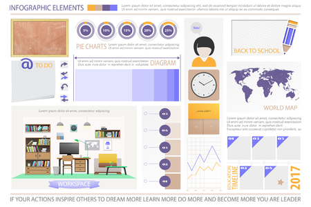 schoolroom: infographic elements, schoolroom objects. vector time line graph, work space interior, chalkboard, books icons. education statistic and learning report. school presentation banner design Illustration