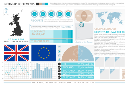 United Kingdom withdrawal from the European Union info graphics. vector EU and British flags icons, voting result chart. public referendum announcement, political crisis concept. infographic elements